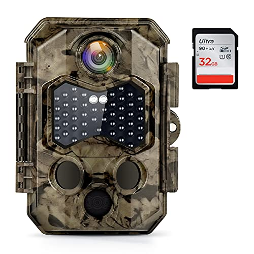 COOLIFE 32MP 4K Caméra de Chasse Vitesse de Déclenchement 0.2s Nocturne avec 45 Lumières Infrarouges Invisibles à LEDs IP66 Camera Vision Nocturne Prise en Charge Maximale Carte 512G