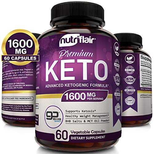 NutriFlair Keto Diet Pills 1600mg - Advanced Ketosis Supplement - Natural BHB Salts (beta hydroxybutyrate) with MCT Oil Powder, Utilize Fat for Energy, Boost Focus - Best Keto Pills for Women and Men 1