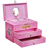 SONGMICS Large Ballerina Musical Jewelry Box, Unicorn for Little Girls, Music Storage Box with 2 Pullout Drawers UJMC007PK
