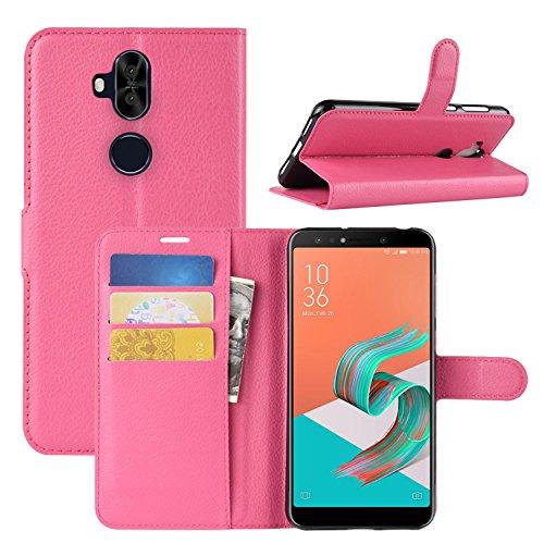 HualuBro Coque Zenfone 5 Lite ZC600KL, Premium Étui en Cuir PU Leather Wallet Portefeuille Housse Flip Case Cover pour ASUS Zenfone 5 Lite ZC600KL 6.0 inch Smartphone (Rose)