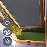 KINLO Dachfensterrollo für Dachfenster 96 x 93cm - S06 Und 606 dunkelgrau Beschichtung Verdunkelungsrollo Sonnenschutzrollo aus Polyester mit Saugnäpfe ohne Bohren 100% blickdicht