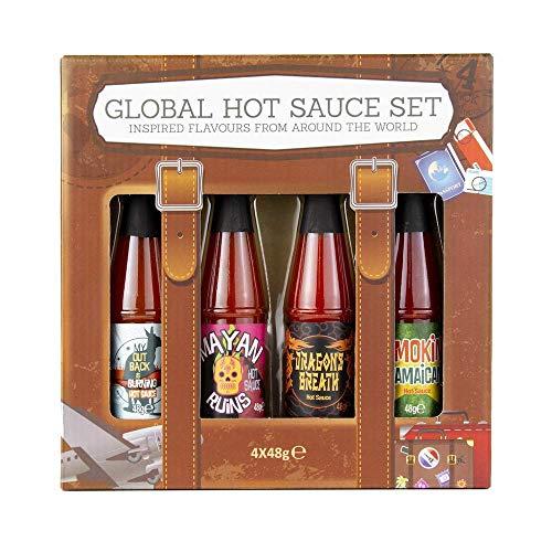 World Traveler Hot Sauce Set de 4: Salsa de chile inspirada en los sabores de todo el mundo