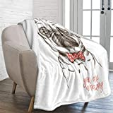 WONGS BEDDING Pug Throw Blanket Reversible Dog Pet Printed Fleece Blanket for Kids Teens Adults Sof Fuzzy Push Solid Blanket 50x60 inches