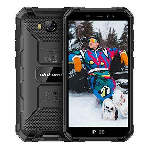 Ulefone X6 (2020) Smartphone Pas Cher Incassable, Android 9.0 Quad-Core, Écran 5.0 Pouces HD+, 16Go + 2Go, 4000mAh, Double SIM Nano Face ID Telephone Portable(Noir) Debloqué Mode Gant(Noir)