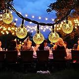 Solar String Lights, 60 LED Outdoor Garden Solar Lights Crystal Ball Decorative Lights 36Ft Waterproof Indoor Outdoor Fairy Lights for Garden, Patio, Yard, Christmas [Warm White]