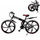 Mountain Bike for Adult Men and Women, High Carbon Steel Dual Suspension Frame Mountain Bike, 21 Speed Gears Folding Outroad Bike with 26 Inches 6-Spoke Rims (Black)