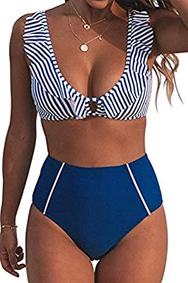 Fabric: 80% Chinlon, 20% Spandex Striped bikini top, Ruffles at neckline and High-waisted bikini bottom About Cup Style: With Removable padded cups Garment Care: Hand Wash and Hang Dry. Recommend with Cold Water. Do not Use Bleach. Body size: the siz...
