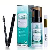 Eyelash Extension Shampoo Forabeli + Brush & Wand 50ml / Eyelid Foaming Cleanser/Nourishing Formula Lash Shampoo Wash/Paraben & Sulfate Free/Safe Makeup & Mascara Remover/Professional & Self Use