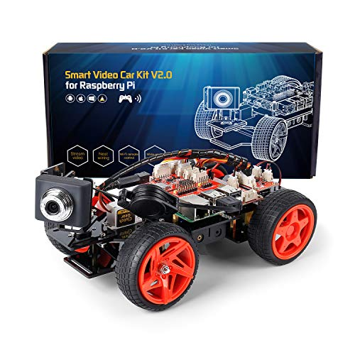 SUNFOUNDER Raspberry Pi Smart Video Car Kit V2.0 Block Based Graphical Visual Programming Language Remote Control by UI on Windows Mac And Web Browser Electronic Toy with Detail Manual