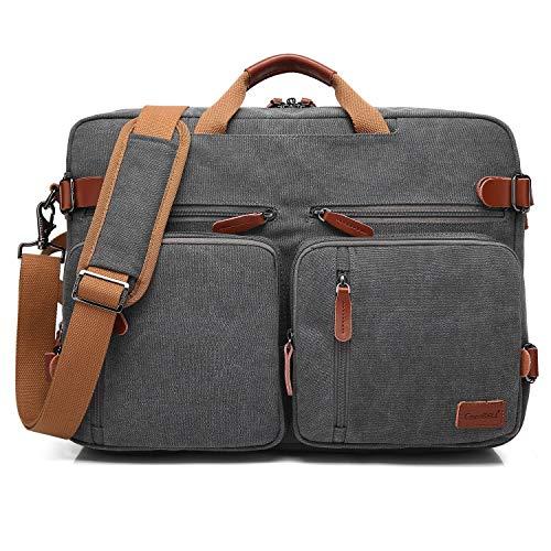 Bolso de hombro CoolBELL convertible en mochila para guardar ordenadores portátiles. Maletín de negocios multi funcional. Mochila de viaje para guardar ordenadores portátiles de 17,3 pulgadas (43,9 cm.) Unisex (15,6 Pulgada, Gris Oscuro)