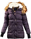 Jessica Simpson Women's Outerwear – Thickened Down Winter Bubble Puffer Jacket with Sherpa Fur Lined Hood, Size Large, Purple'