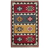 Herat Oriental Indo Hand Woven Tribal Vegetable Dye Kilim Wool Rug, 4' x 6', Red/Ivory