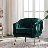 Artechworks Velvet ModernTub Barrel Arm Chair Upholstered Tufted with Golden Legs Accent Club Chair for Living Reading Room Bedroom, Green