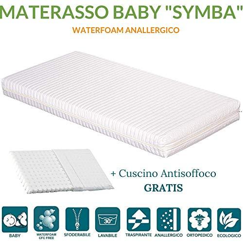 EVERGREENWEB Materasso Lettino o Culla 60x120 per Bambini alto 12 cm + Cuscino ANTISOFFOCO su misura...