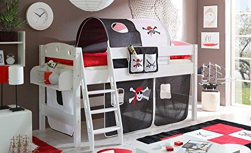 lifestyle4living Hochbett für Kinder in schwarz-Weiss mit Leiter, Vorhang im Piraten Motiv | Spielbett aus Kiefer Massivholz mit Einer Liegefläche 90x200 cm