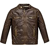 Budermmy Boys Motorcycle Jacket Faux Leather Jackets for Kids Coats for Costume Party Waterproof (Slightly Brown, 2-3T)