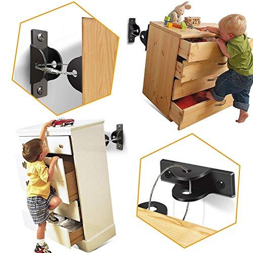 [6 Stück] SYOSIN Baby Möbel Kippsicherung für Regale Kommoden und Schränke, Kindersicherheit Anti Tip Schutzgurte für Baby-Proofing & Haustierschutz