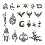 Halloween Charm-100g(About 55-60pcs) Antique Silver Halloween Collection Craft Supplies Charms Pendants for Crafting, Jewelry Findings Making Accessory for DIY Necklace Bracelet M1