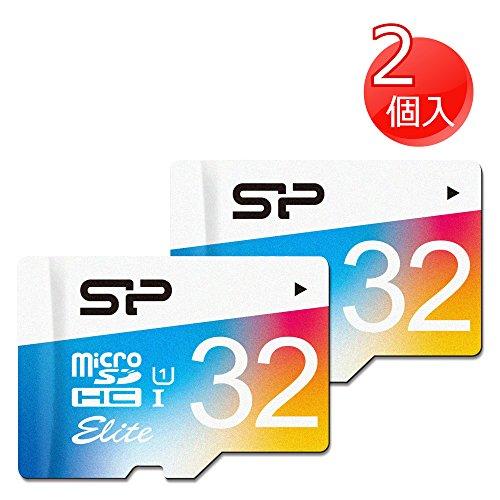 SP シリコンパワー 2個セットElite microSDHCカード 32GB UHS-1対応【最大読込85MB/s】防水 防塵 耐X線 永久保証 (アダプタ付) 2PK-SP032GBSTHBU1V20SP