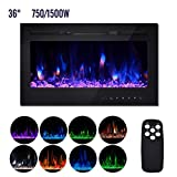 YU YUSING 36' Electric Fireplace, Recessed Wall Mounted and in-Wall Linear Fireplace Heater with Timer/Remote Control/Touch Screen/Adjustable Flame Color, 750-1500W