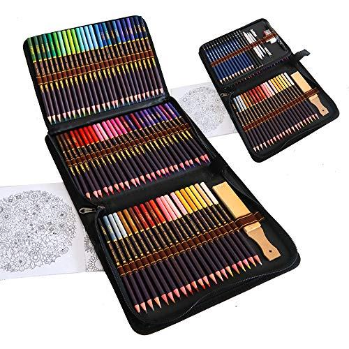 Kit Disegno Completo 96 pezzi - Principianti o Professionisti, Astuccio da 72 matite colorate, 12 Matite da disegno e Accessori, Ideali per Artisti, Adulti e Bambini