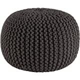 COTTON CRAFT - Hand Knitted Cable Style Dori Pouf - Grey - Floor Ottoman - 100% Cotton...