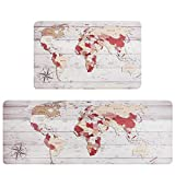 Falflor 2 Pieces Anti Fatigue Kitchen Floor Mats World Map PVC Leather Heavy Duty Standing Mats for Indoor Home Office Standing Desk Rug Wipe Clean(17'×28' +17'×47')