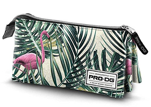 PRODG PRODG Triple Pencil Case Flamingo Astuccio, 23 cm, Multicolore (Multicolored), poliestere
