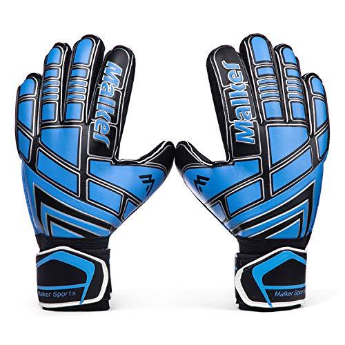 Malker Torwarthandschuhe Fußball Handschuhe für Erwachsene und Jugend Kinder mit Fingerschutz, Stärken Grip, rutschfeste,Ausrüstung Verhindert von Verletzungen(Größe 6 Blau/Schwarz)