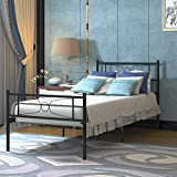 Twin Size Bed Frame, Metal Bed Frame for Teenagers, No Box Spring Needed Single Bed Platform Mattress Foundation with Storage Headboard/Footboard for Student (Black)