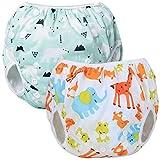 Teamoy Couches de Bain lavables pour Bébé (2 Paquets) Pantalon de Couche en Tissu pour Garçons et Filles, Polar Bear + Animal