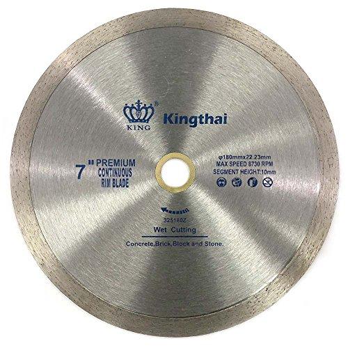 Kingthai 7 Inch Continuous Rim Diamond Saw Blade for Cutting Porcelain Tiles Ceramic,Wet Cutting,7/8'-5/8' Arbor