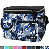 OPUX Lunch Bag Insulated Lunch Box for Women, Men, Kids | Medium Leakproof Lunch Tote Bag for School, Work | Lunch Cooler with Shoulder Strap, Pocket | Fits 8 Cans (Camo Blue)