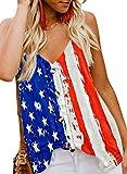 BLENCOT Women's American Flag Tank Tops 4th July Patriotic USA Flag Striped Stars Sleeveless Shirts Blouses M