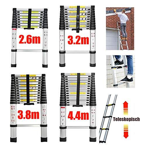 4,4m Teleskopleiter Mehrzweckleiter für Dachboden/Kletterdach/Büronutzung/Baujob Ausziehbar Aluleiter Rutschfeste Stufen 150 Kg Belastbar