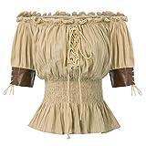 Victorian Gothic Renaissance Off Shoulder Blouses Top Pirate Shirt 2XL Kaki