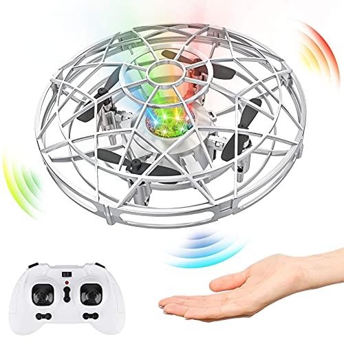 Baztoy Mini UFO Drone, Elicottero RC e Controllo Manuale con Luce LED Aereo Giocattolo Volante per Bambini 3 4 5 6 7 8 Anni Giocattolo Telecomandato Giardino Interno Esterno Regalo Bambino Compleanno