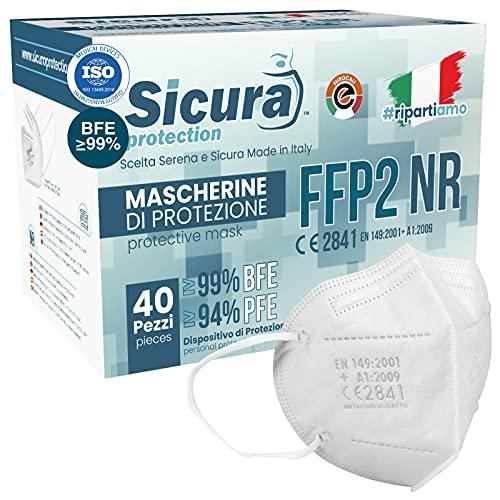40 Mascherine FFP2 Certificate CE Made in Italy Bianche e logo SICURA impresso BFE ≥99% Mascherina ffp2 italiana...
