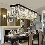 Moooni Modern Rectangular Raindrop Crystal Chandelier Lighting Rectangle Pendant Light Fixture for Dining Rooms Island Black L39.5' X W10' X H10'