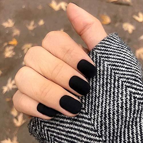 24 Pcs Fake Nails Matte Short Square Nails Full Cover Fall Nail Art Medium FALSE Gel Nails Tips Sets for Women Teens Girls (Black)