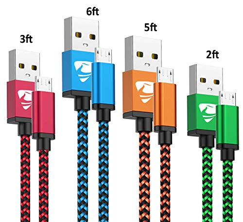 Micro USB Cable Aioneus Fast Android Cord Charger Cable 4 Pack [2FT, 3FT, 5FT, 6FT] Nylon Braided Cable Charging Cord Compatible with Samsung Galaxy S5/S6/S7, HTC, Nexus, LG, Nokia, Motorola, Sony
