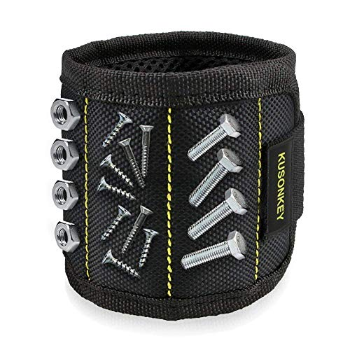 Magnetic Wristband, KUSONKEY Tool Belt with 15 Powerful Magnets for Holding Screws/Nails/Drill Bits, Versatile Gift for Him/Men/Father/Dad/DIY Handyman/Electrician/Husband/Boyfriend
