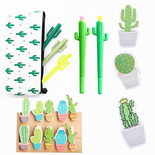 JeVenis - Penne a sfera a forma di cactus, 19 pezzi, inchiostro nero, con astuccio decorato con cactus, mollette a forma di cactus, foglietti adesivi per note, per ufficio, scuola, casa, idea regalo