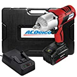 ACDelco Cordless Li-ion 20V 1,260 FT-LBS NUT BUSTING Torque 1/2' Impact Wrench Kit - 4.0Ah Battery, Fast Charger, and Carrying Case, P20 Series ARI20170