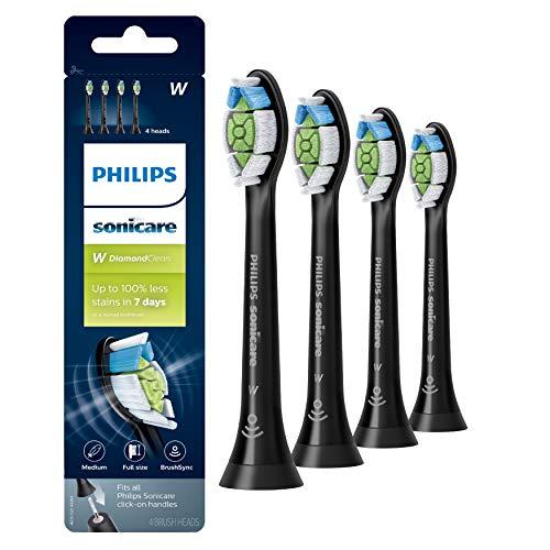 Genuine Philips Sonicare DiamondClean Toothbrush Head, 4 Pack, Black, HX6064/95
