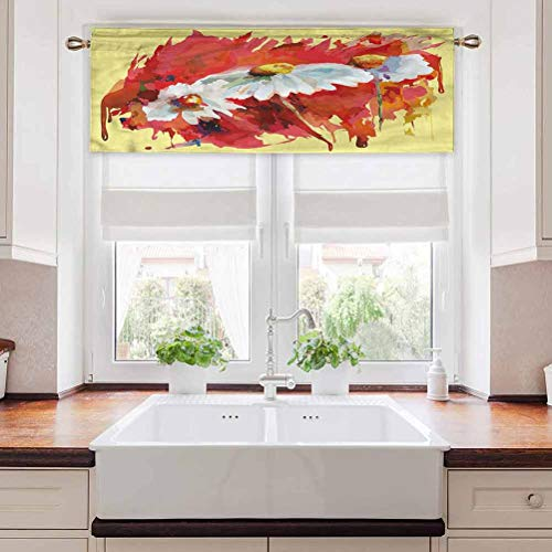 Ahuimin Gentle-Filtering Curtain Valance, Artwork,Watercolor Gardening Sample, 42 Inch by 18 Inch Blackout Valances Curtain for Small Window(1 Panel)