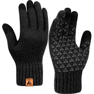 Winter Knit Gloves Warm Full Fingers Men Women with Upgraded Touch Screen – Anti-Slip Wool Glove Fleece Lined