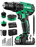 KIMO Cordless Drill Driver Kit, 20V Impact Drill Set w/Lithium-ion Battery/Charger & Cleaning Brush, 350 In-lb Torque, 3/8' Keyless Chuck, 21+1+1 Clutch, Variable Speed & LED for Metal Concrete Wood
