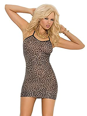 Leopard print slip mini dress. Only items listed in this product description are included. High quality lingerie by Elegant Moments.