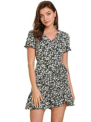 V Neck, Ruffle Hem, Floral Print, Frilly Short Sleeve, Elastic Waist, Drawstring, Ruched Front, Zip Up, Above the Knee A pretty floral print overlays this vivacious minidress that is perfect to create romantic look Occasion:Daily Wear, Vacation, Week...